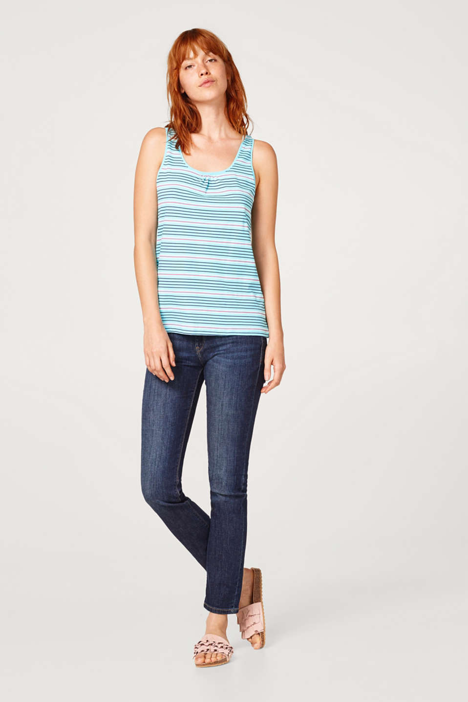 Cotton vest with printed stripes
