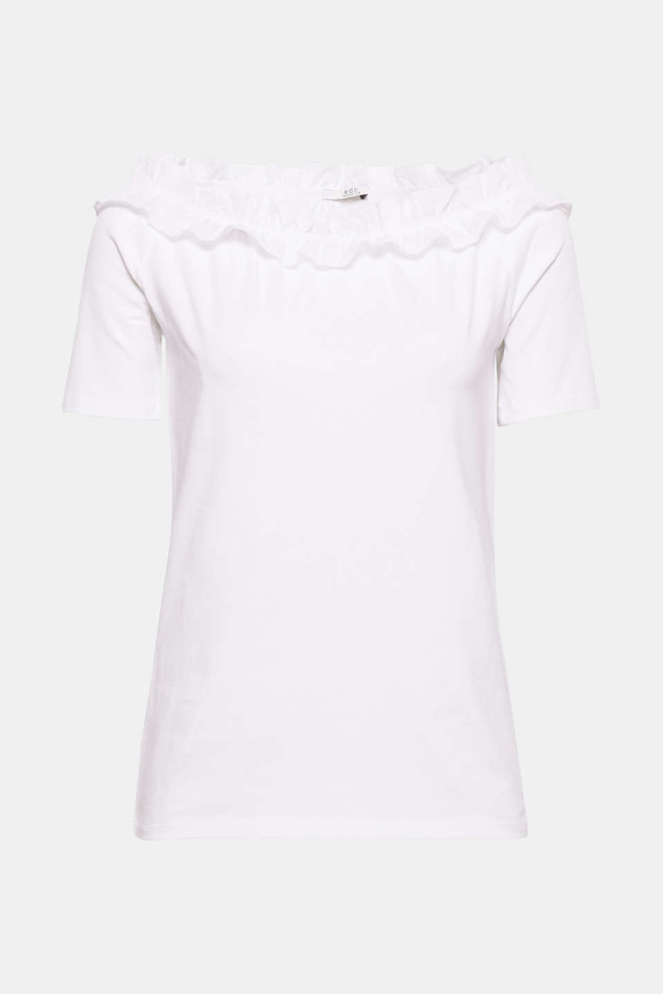 Show off your shoulders! This stretchy cotton top wows with a Carmen neckline, which is also enhanced by a fabric frill.