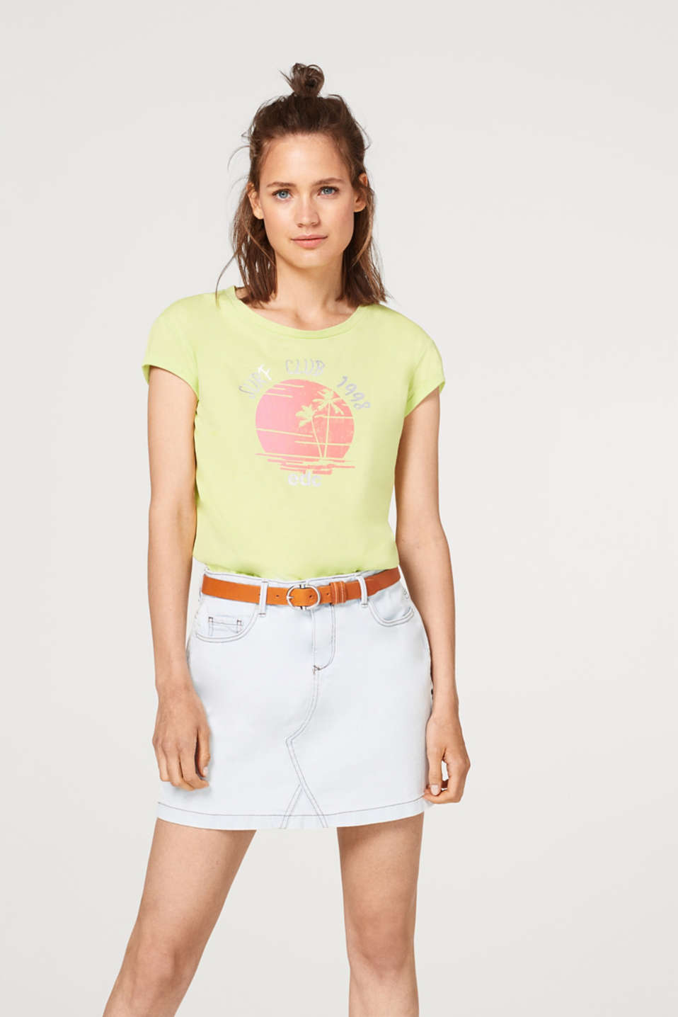 edc - T-shirt with a beach print, 100% cotton