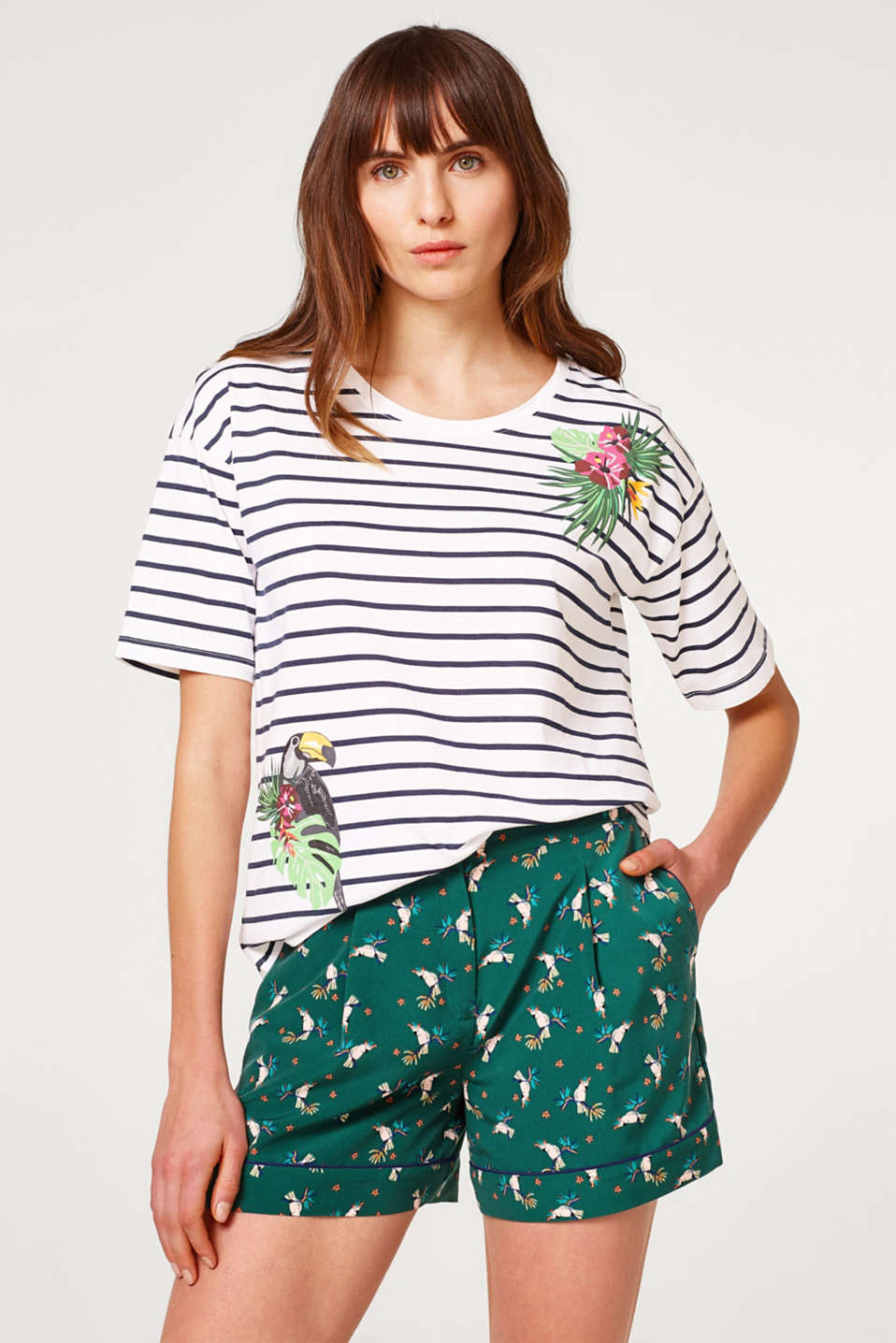 edc - Striped cotton T-shirt with tropical prints