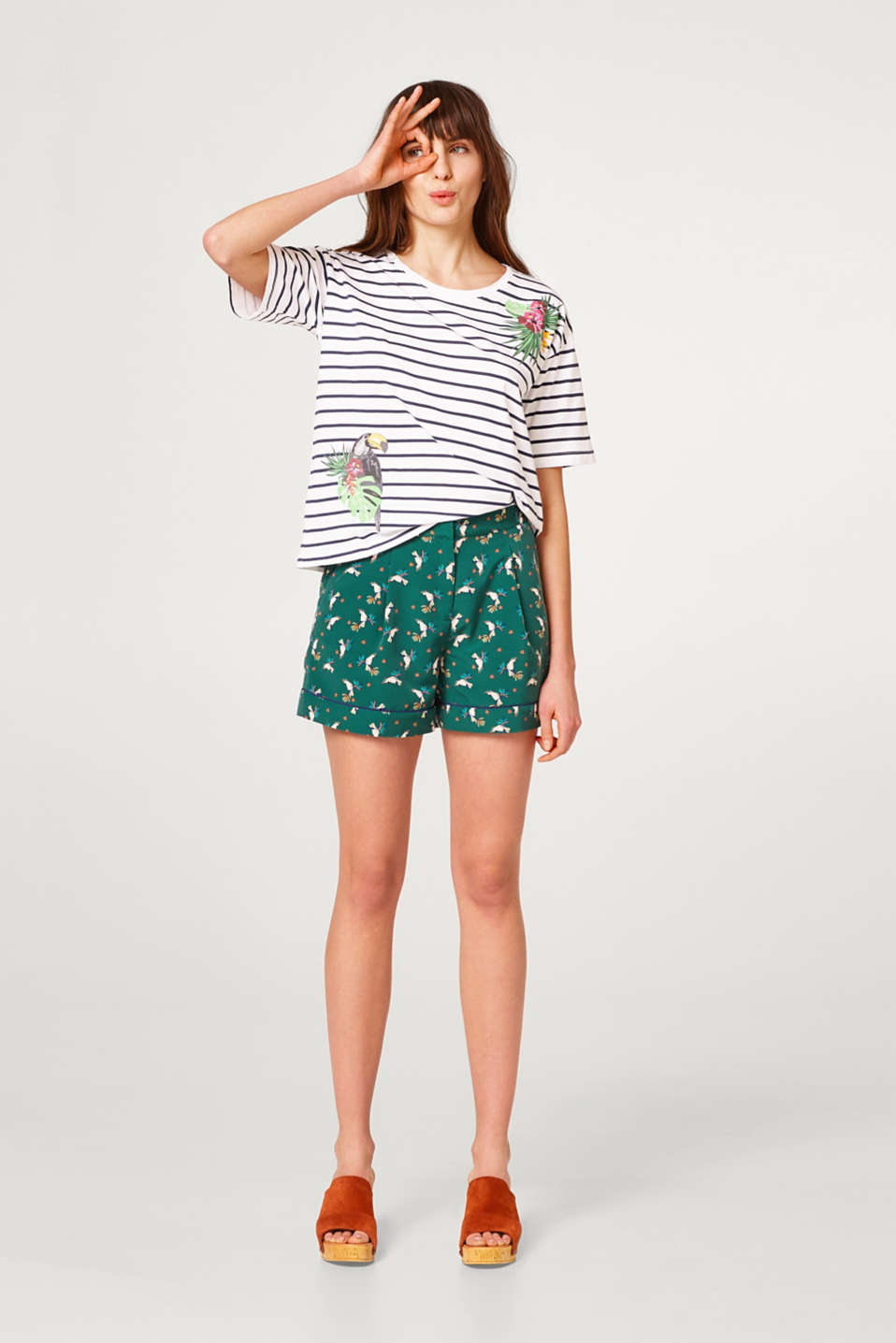 Striped cotton T-shirt with tropical prints