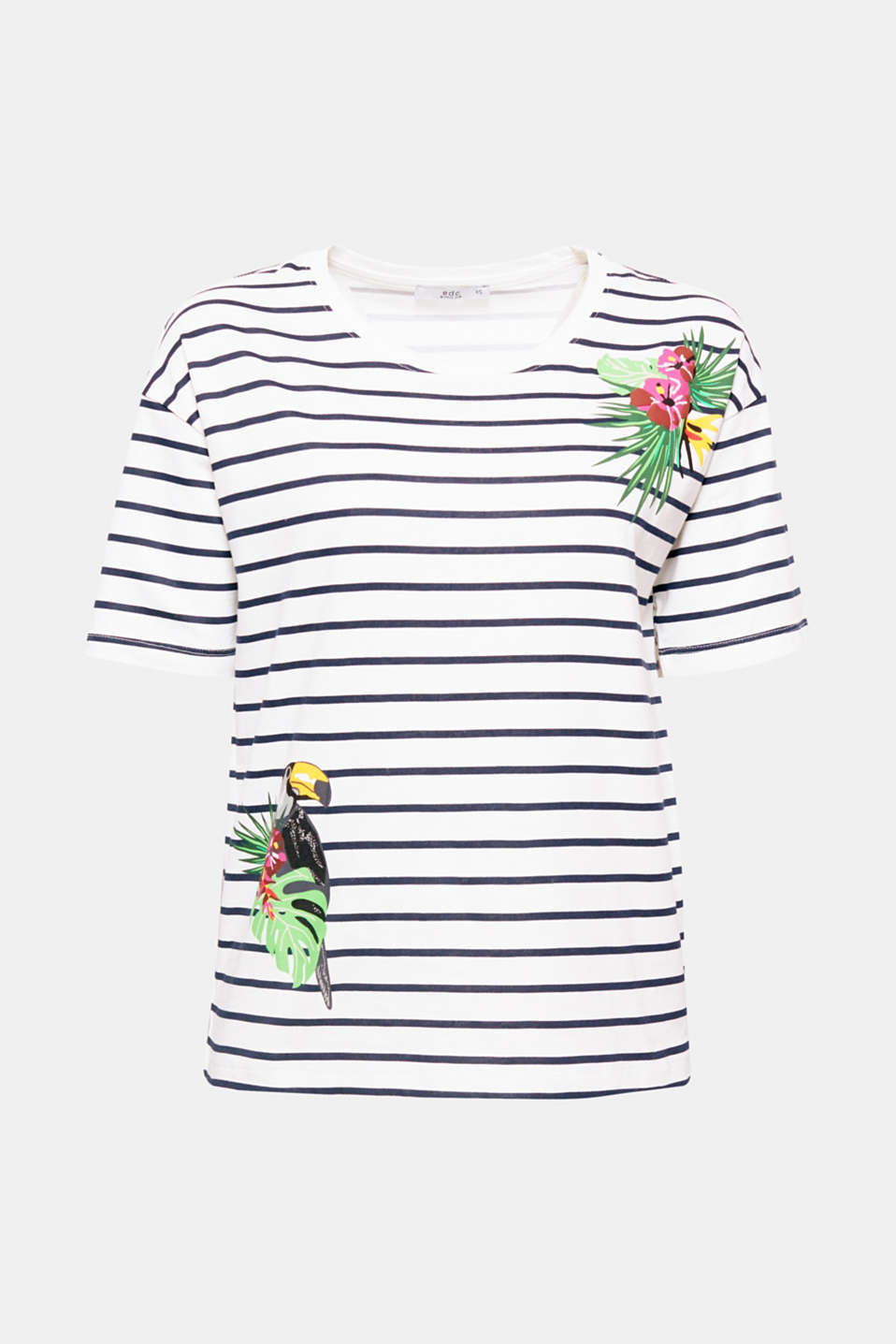 The mix of nautical stripes and tropical motifs gives this soft cotton T-shirt a unique look.