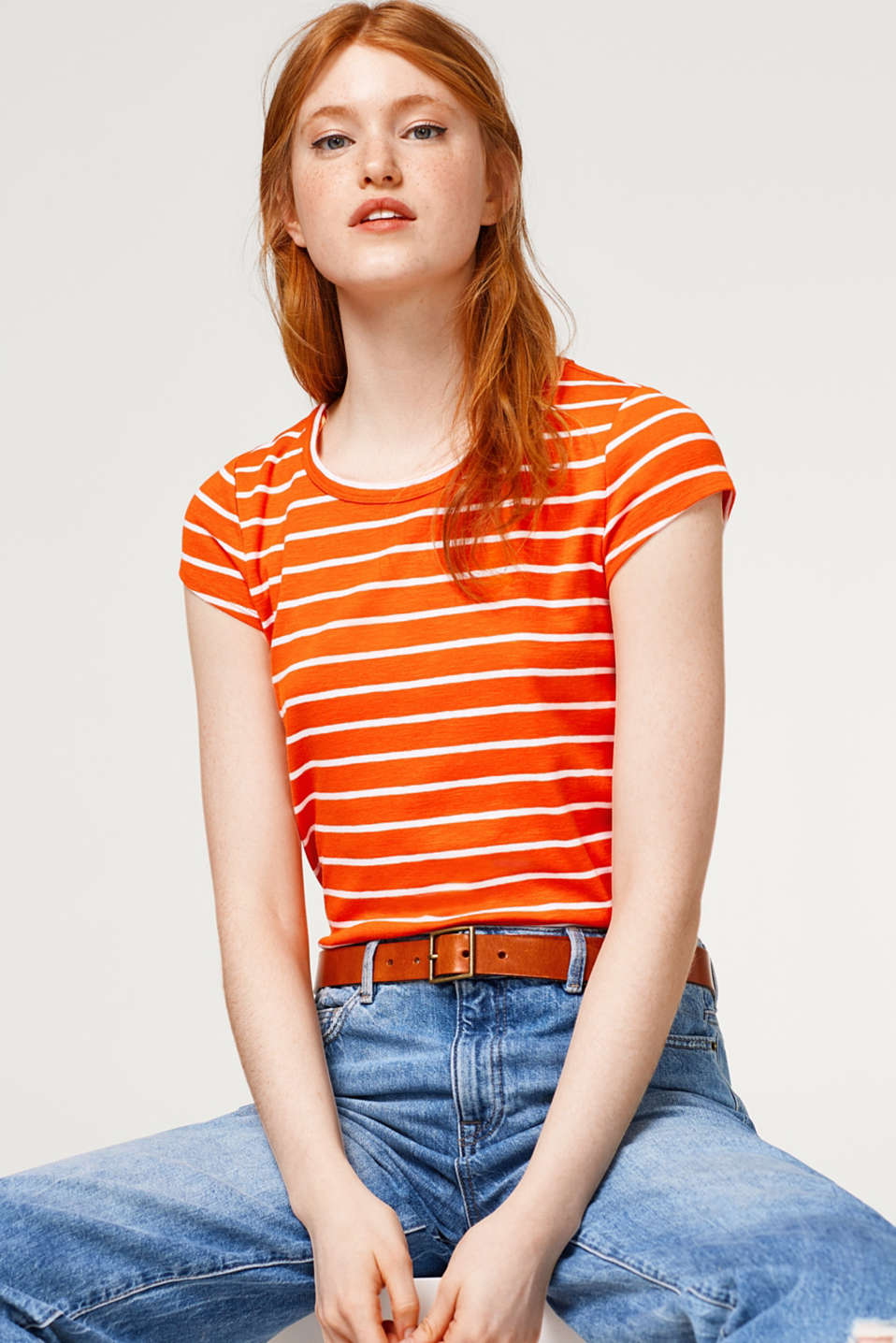 edc - Fitted striped top made of stretch cotton