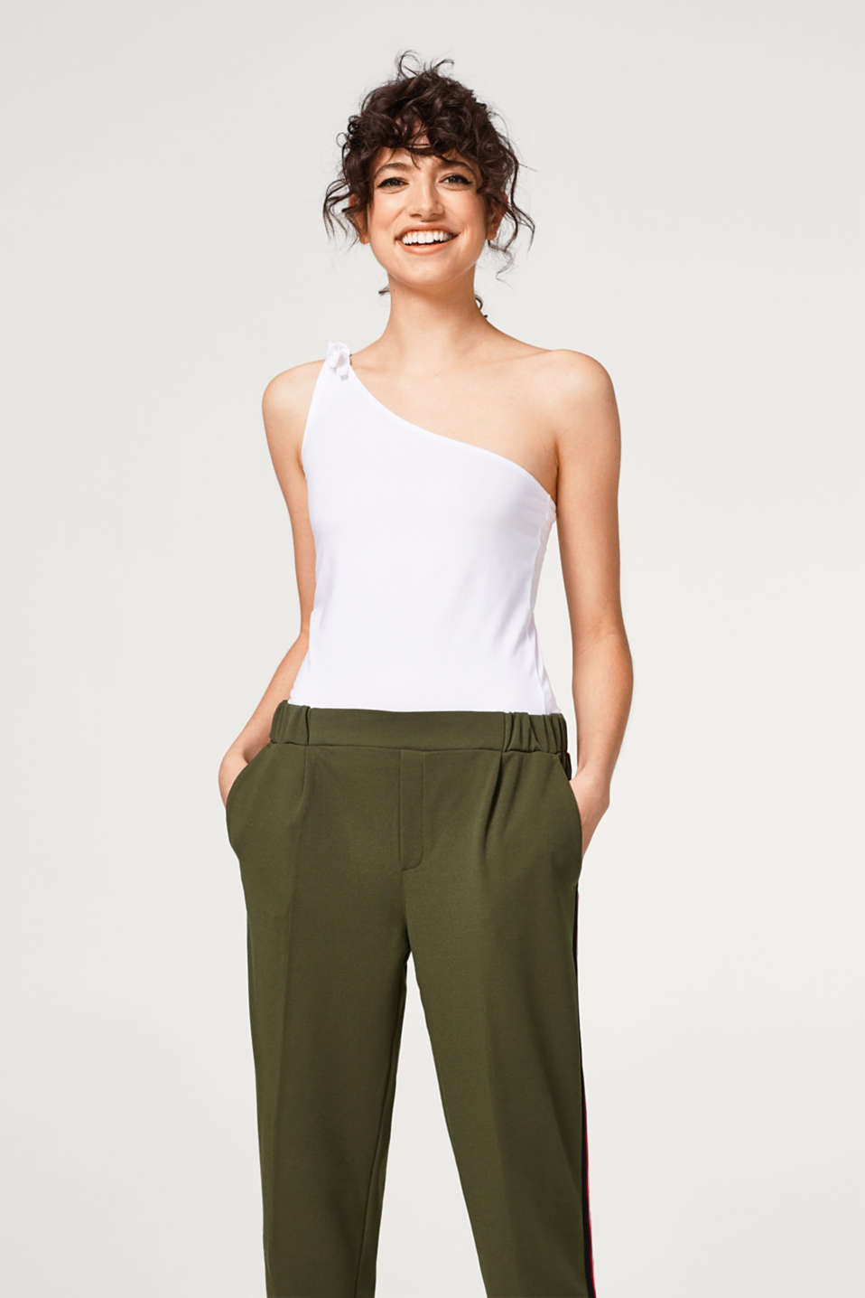 edc - One-shoulder top made of stretch cotton