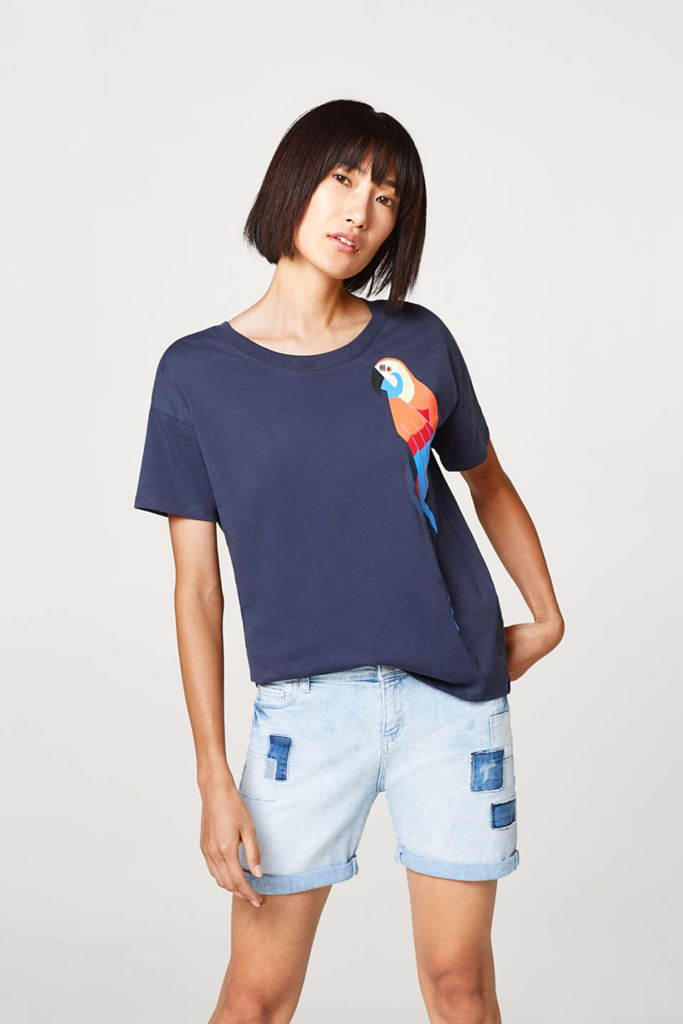 edc - T-shirt with a parrot print, 100% cotton