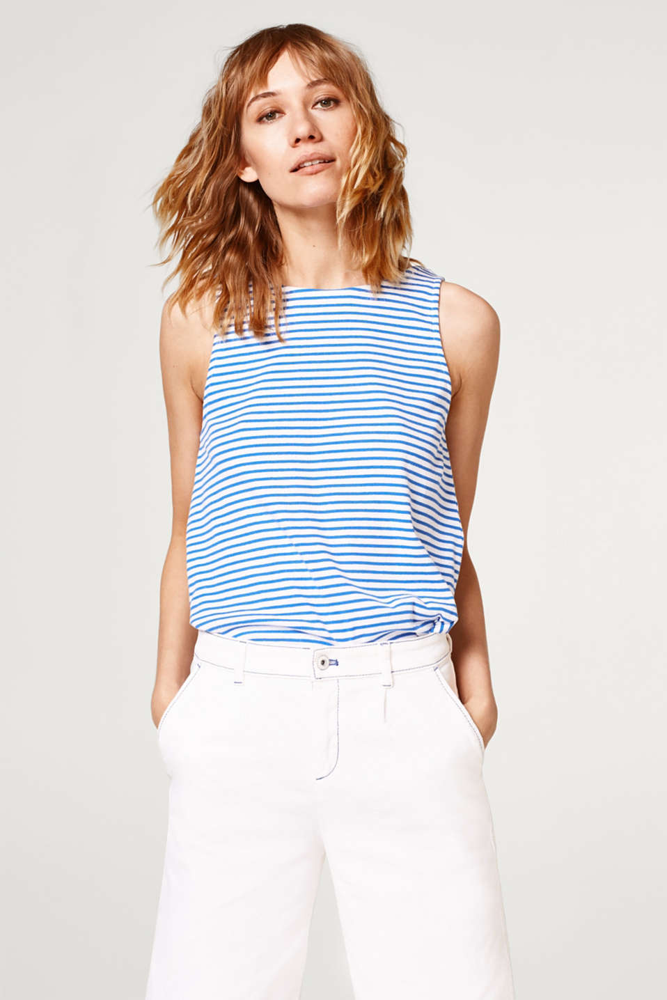 edc - Striped top in ribbed jersey with an embellished back