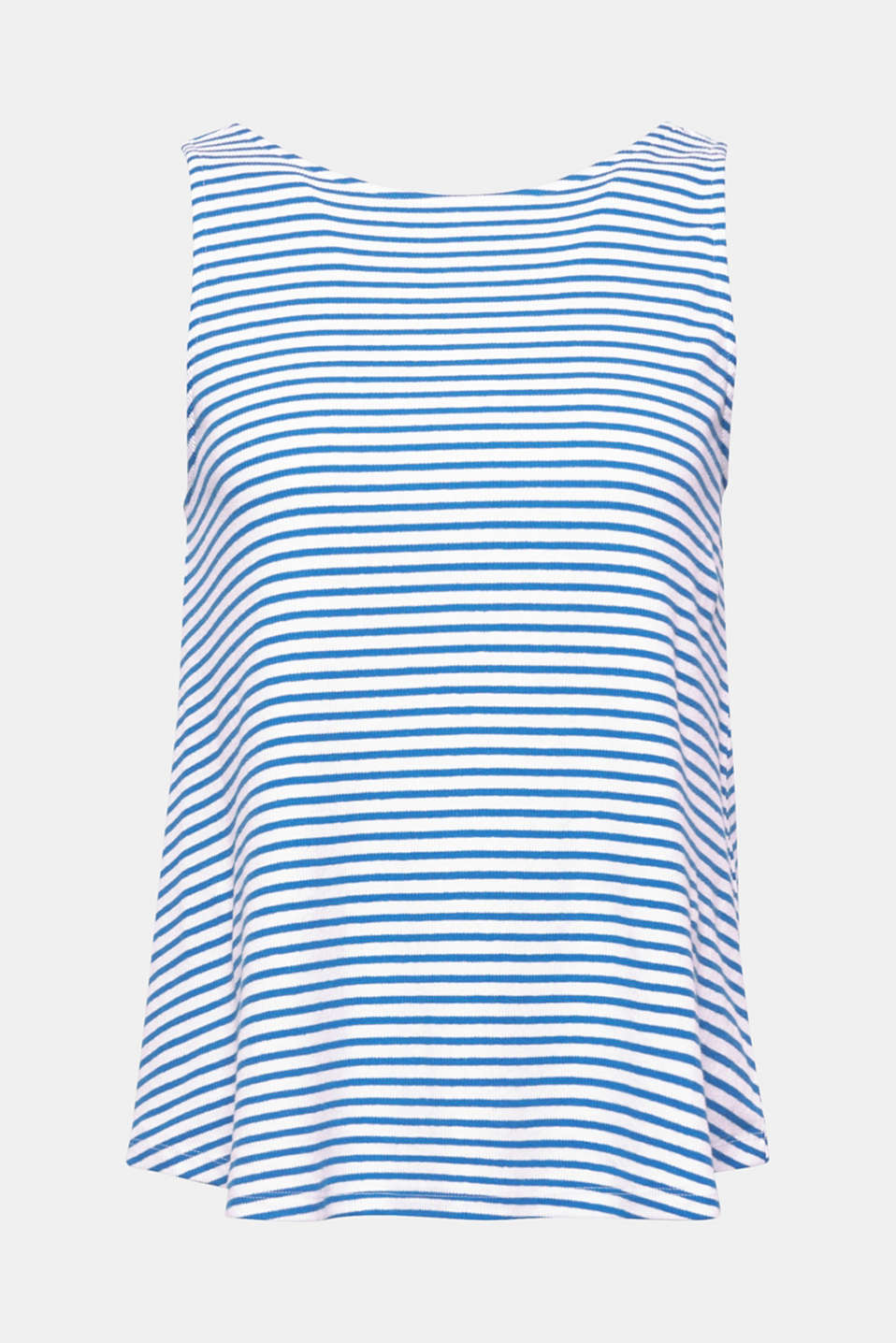 A deep back neckline with decorative ribbons gives this top in striped ribbed jersey a certain je ne sais quoi!