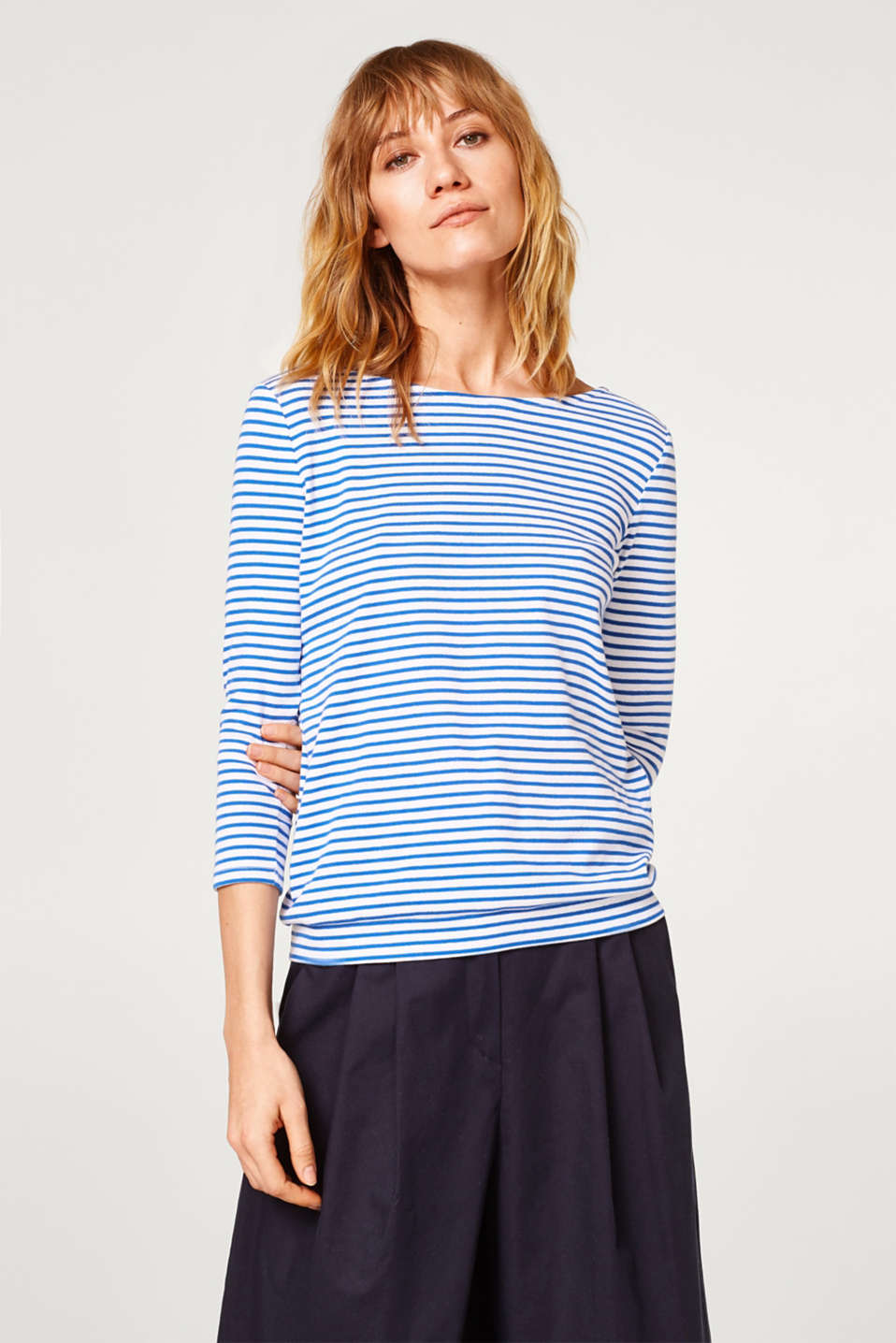 edc - Striped bow detail tee with a wrap-over effect back