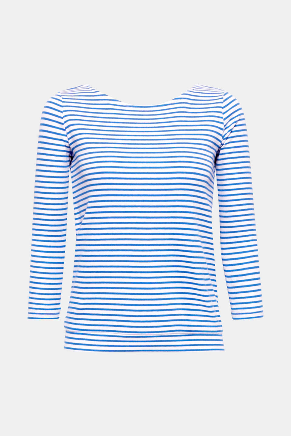 The loving attention to detail makes this nautical ribbed T-shirt featuring a wrap-over effect and decorative bow at the back something really special.