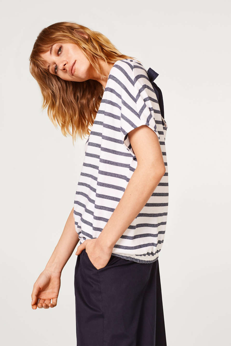 edc - Striped T-shirt with a bow, 100% cotton
