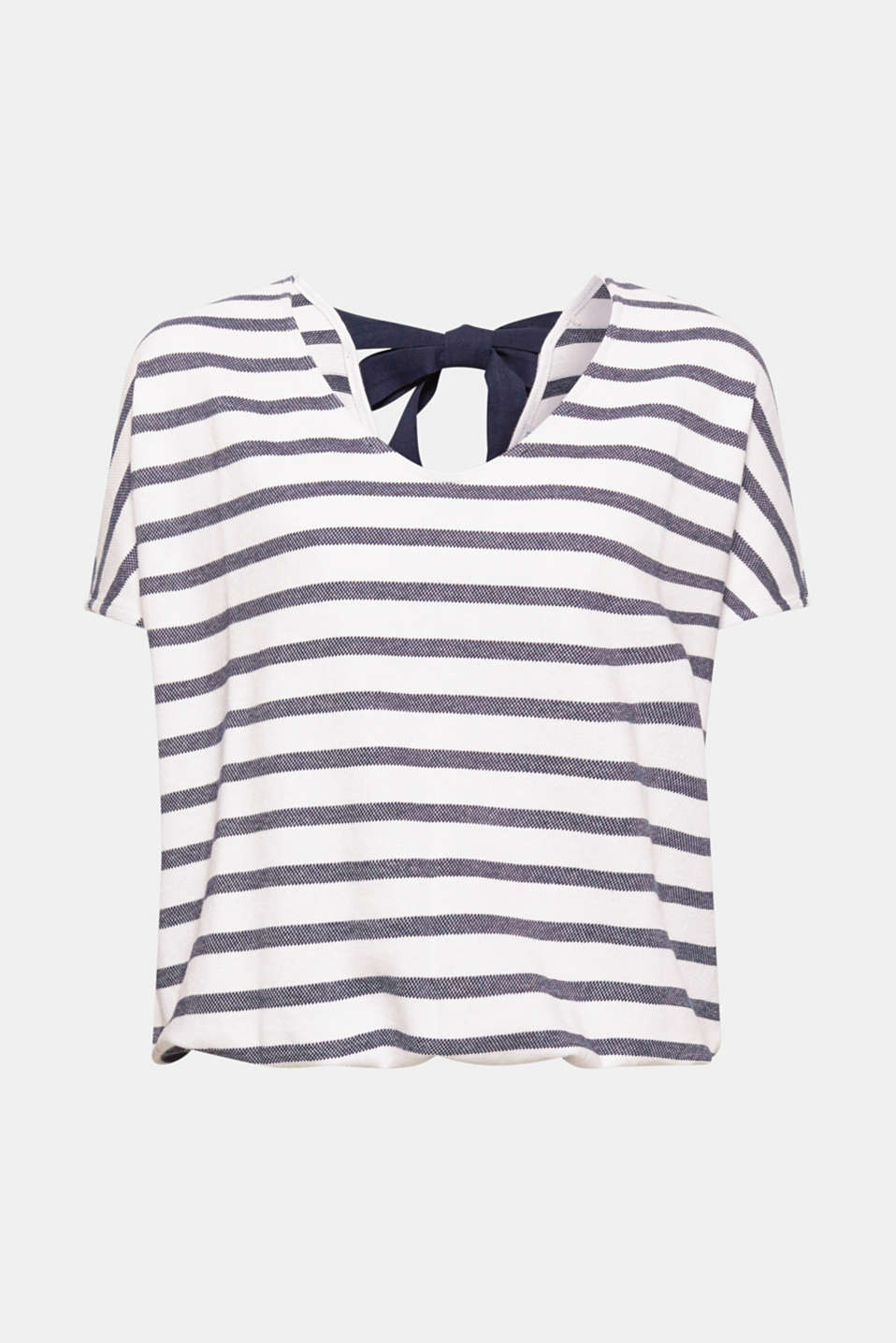 This striped T-shirt in finely textured cotton jersey with an elasticated hem looks casual at the front and pretty at the back thanks to its bow detail.