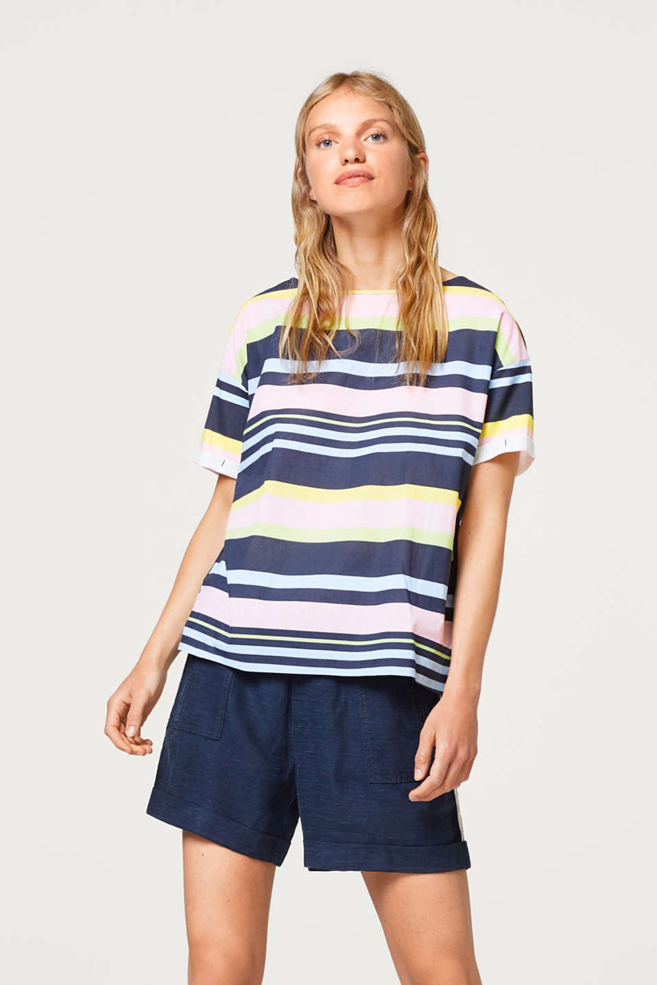edc - Jersey/fabric striped T-shirt in 100% cotton