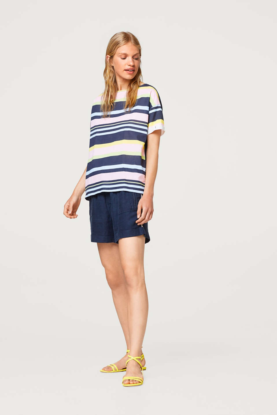 Jersey/fabric striped T-shirt in 100% cotton