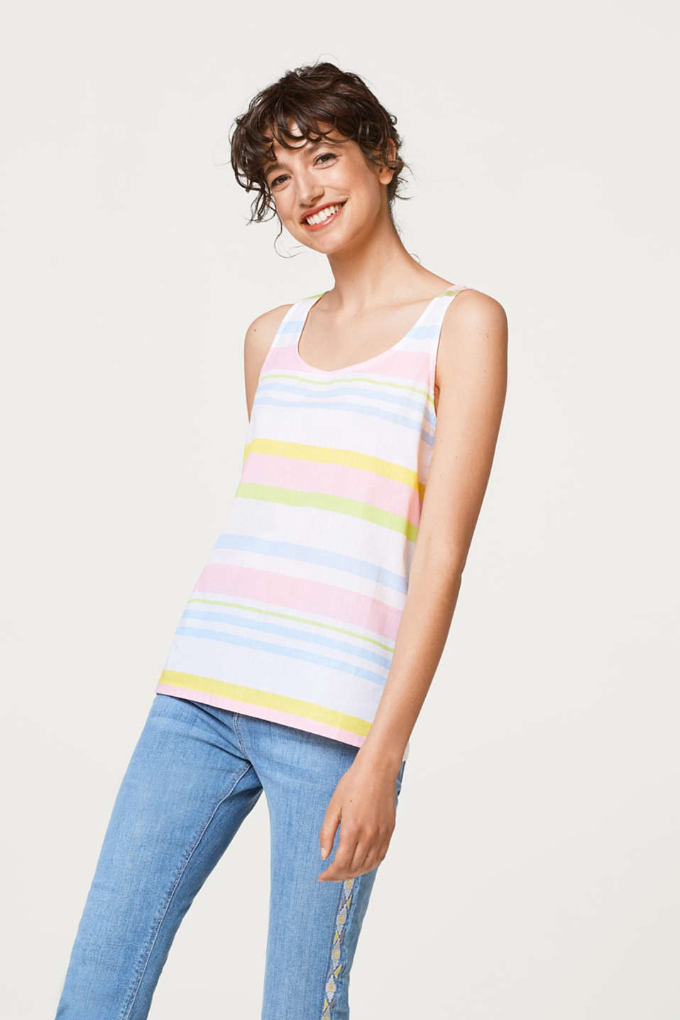 edc - Colourful striped top in a mix of materials, 100% cotton
