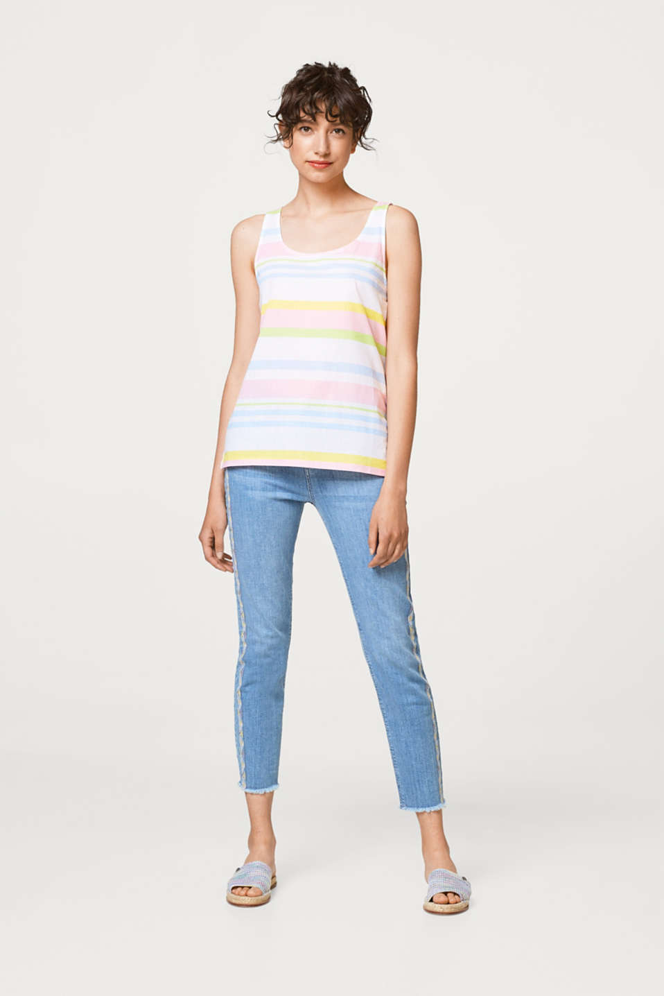 Colourful striped top in a mix of materials, 100% cotton