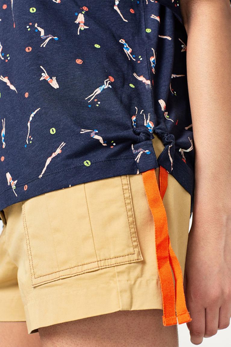 Lockeres Print-T-Shirt mit Webbändern