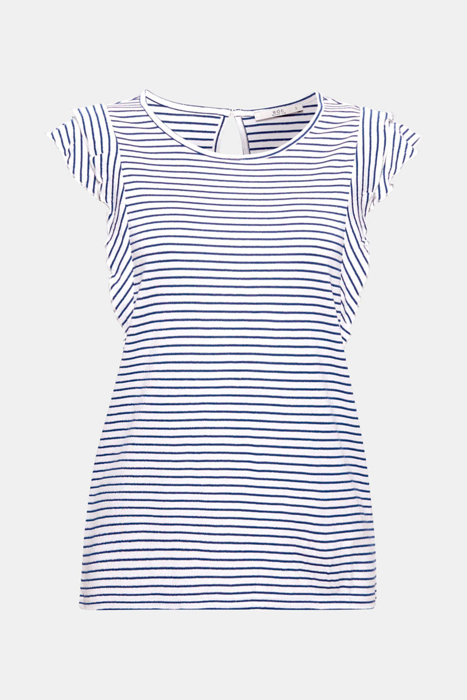 Fine stripes with a glitter effect and feminine flounce sleeves give this top its innovative, nautical trend look.