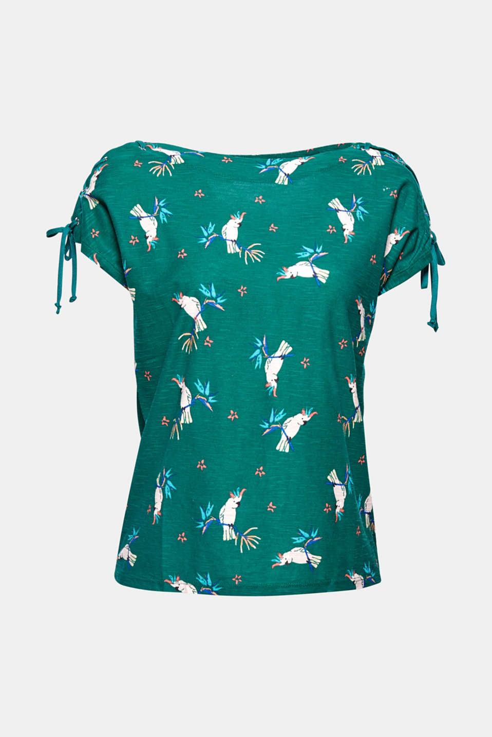 This bateau neck T-shirt oozes summer vibes with lace-up shoulders and a charming retro print.