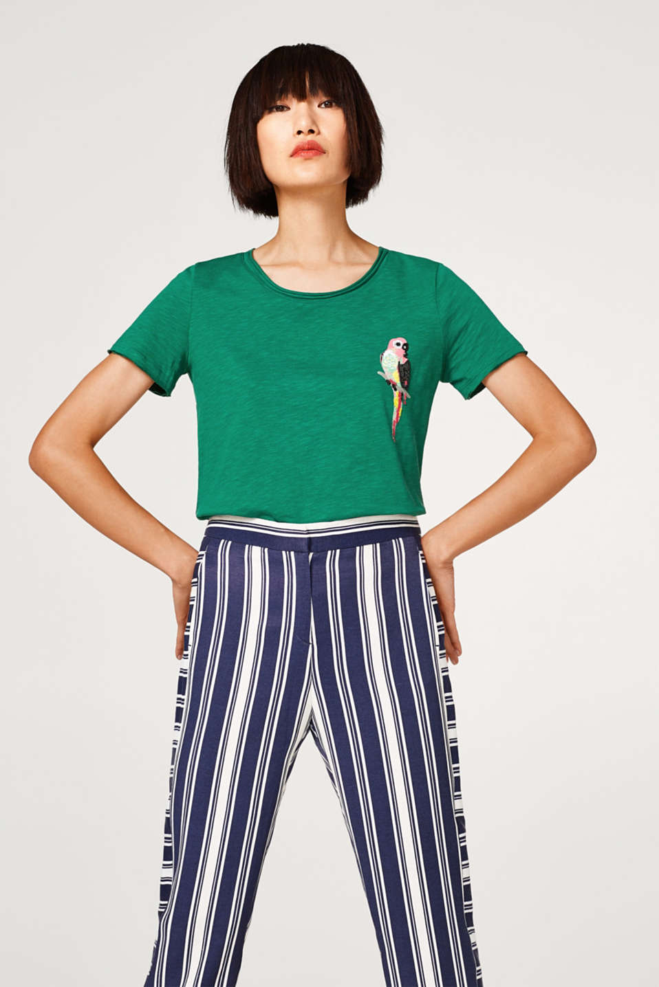 edc - Slub T-shirt with a layered hem and cactus print