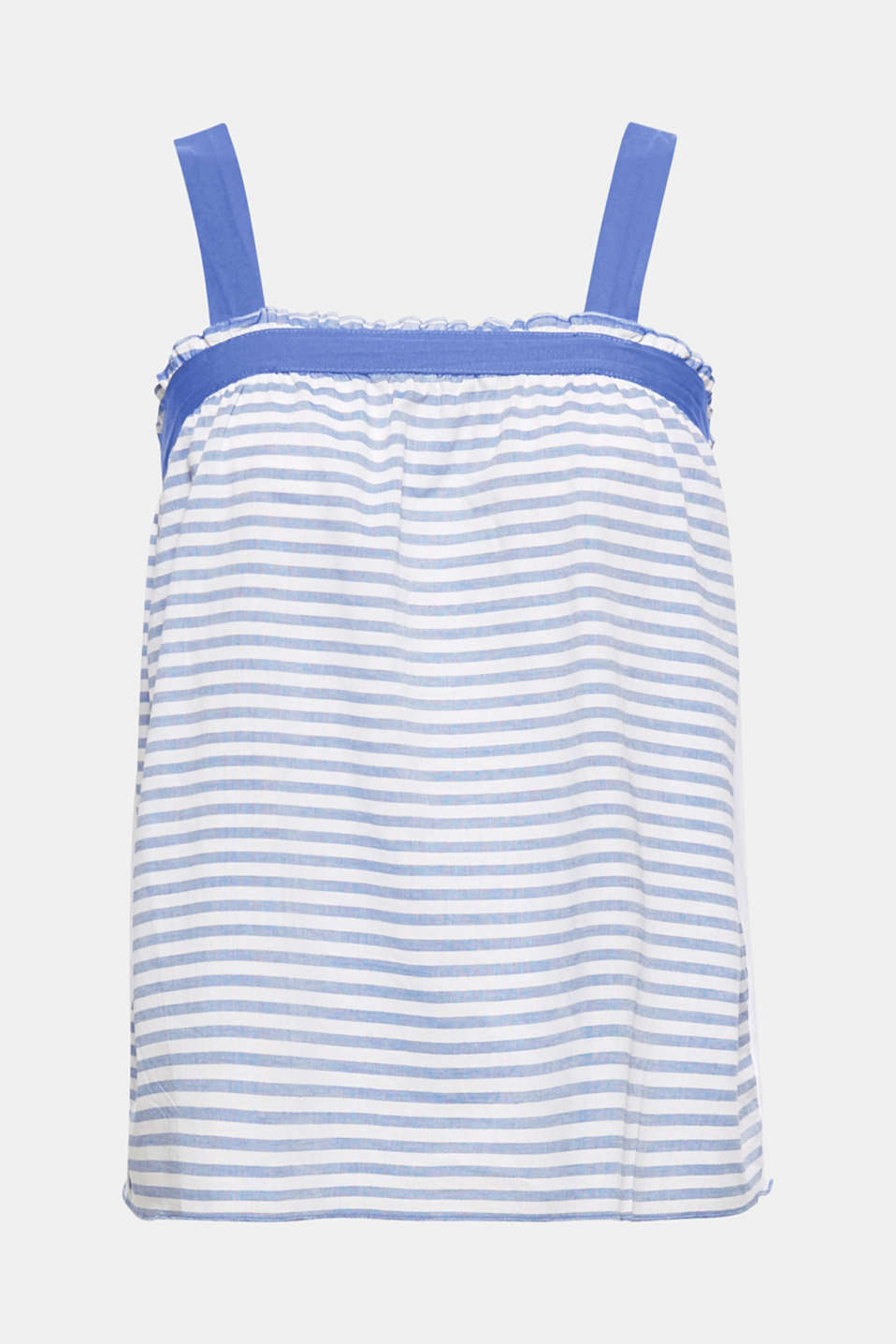 This delicate cotton top in a feminine babydoll style features a floaty width, comfortable straps and fresh stripe pattern.
