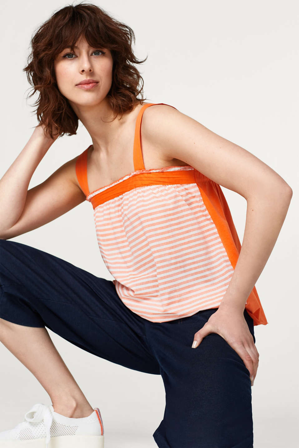 edc - Vest top in a mix of fabrics, 100% cotton