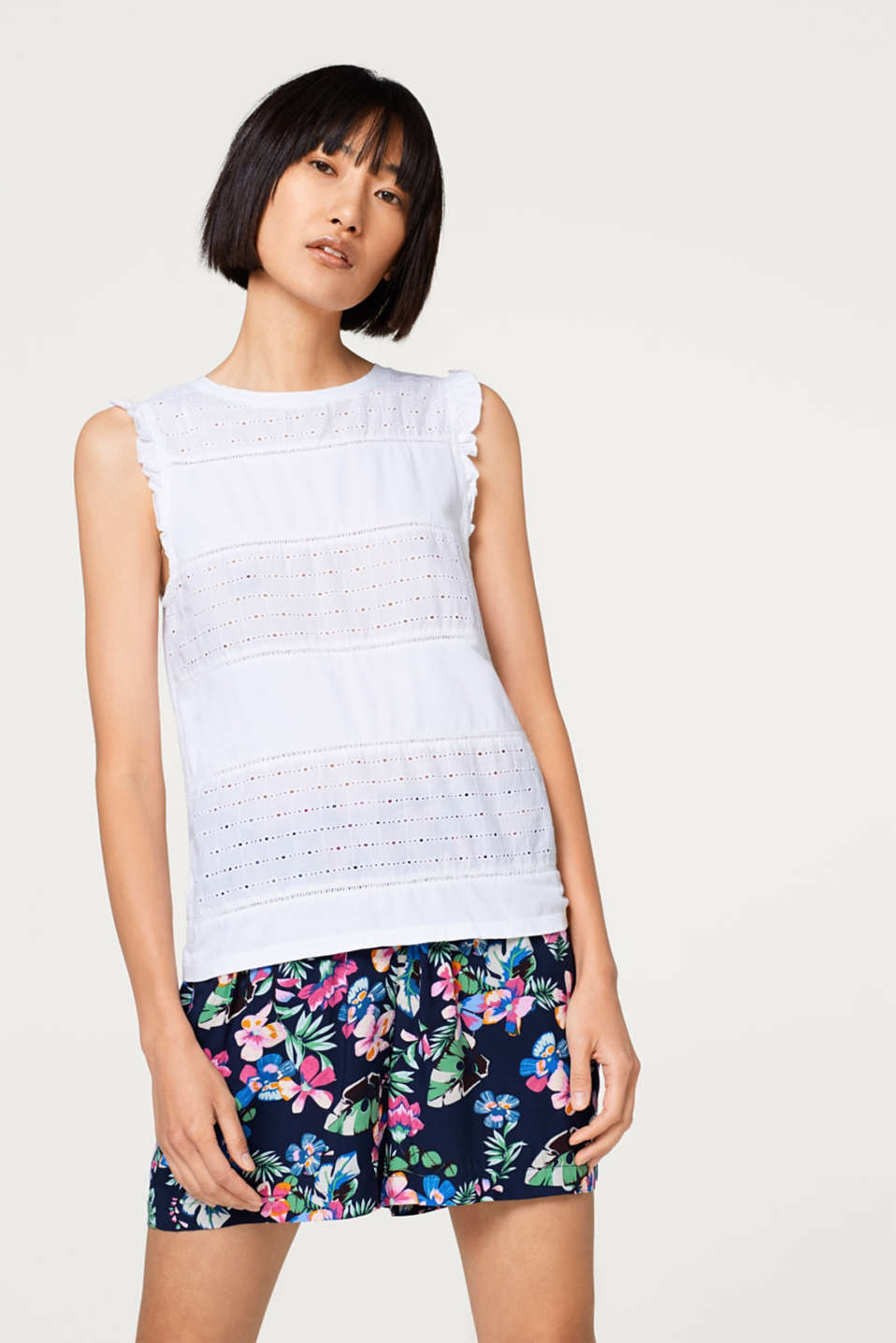 edc - Mixed material top with broderie anglaise, 100% cotton