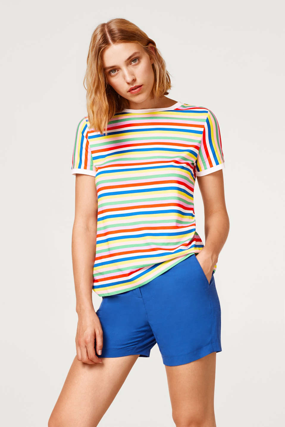 edc - T-shirt with a colourful striped print