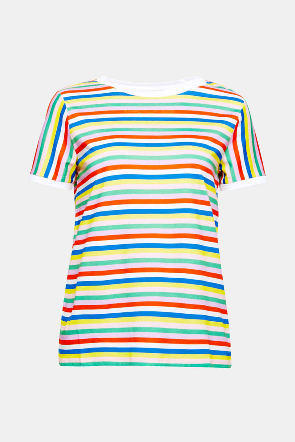 This T-shirt in a soft cotton/viscose blend with a colourful striped print and contrasting colour borders.