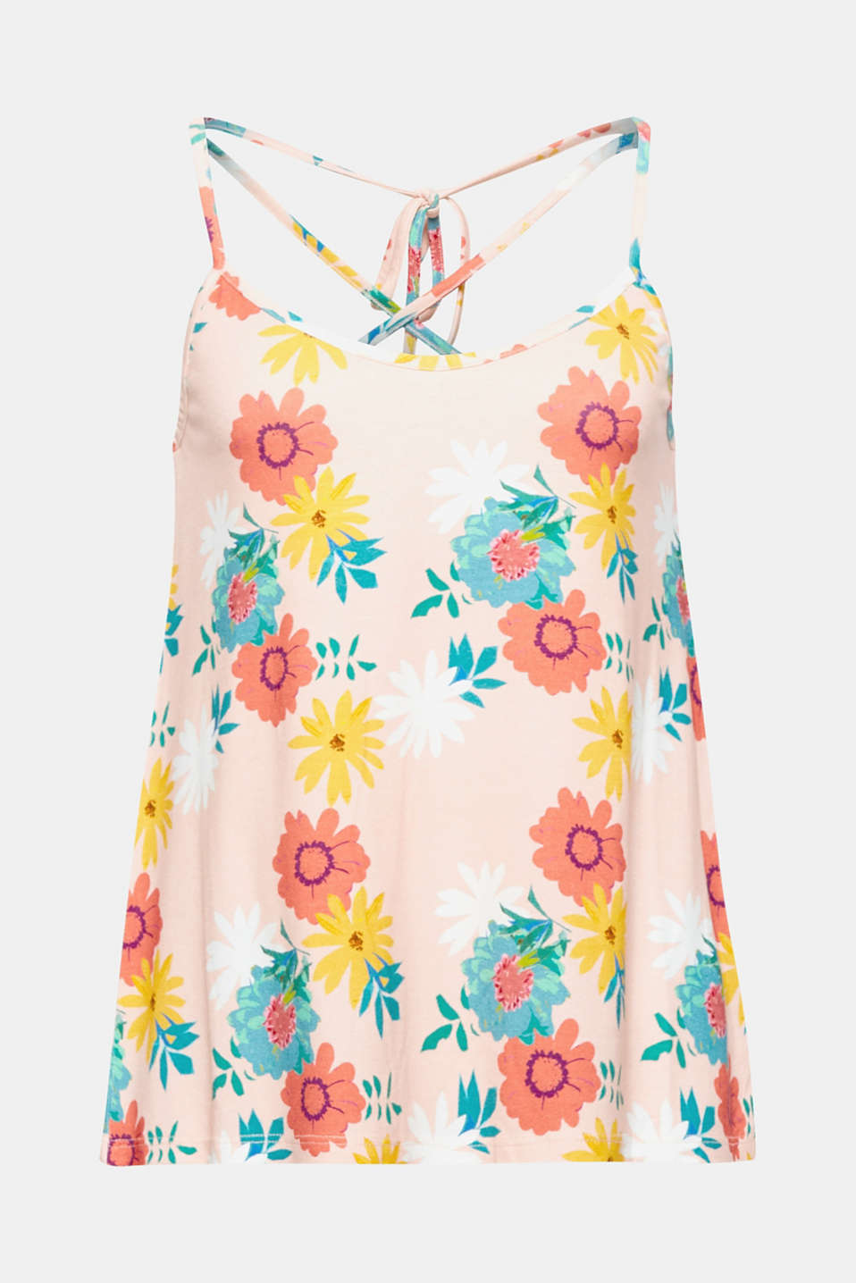 This dainty vest top has a light and airy summer vibe thanks to the colourful all-over print and the sophisticated lace-up back.