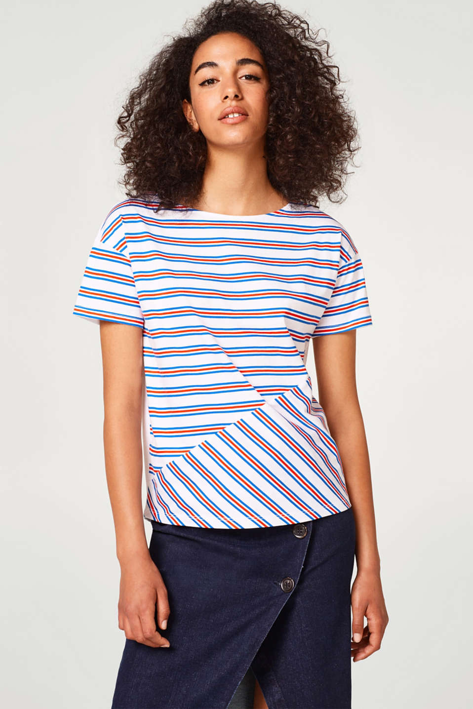 edc - T-shirt with striped print, 100% cotton