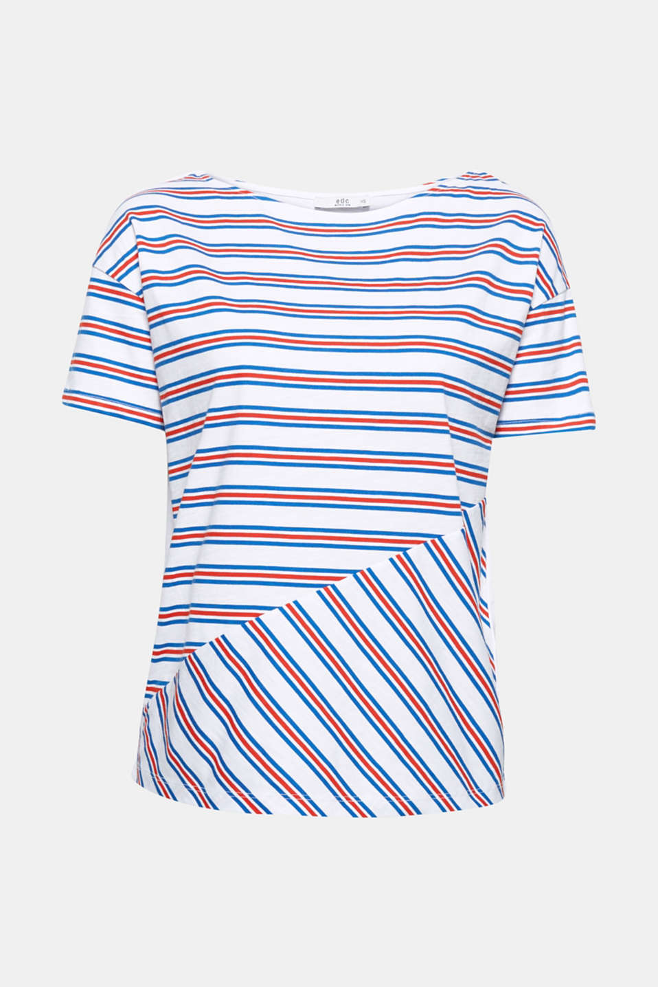 Scores points with the sophisticated graphic design and provides maximum comfort thanks to the pure cotton fabric: Straight cut T-shirt with a varied striped print.