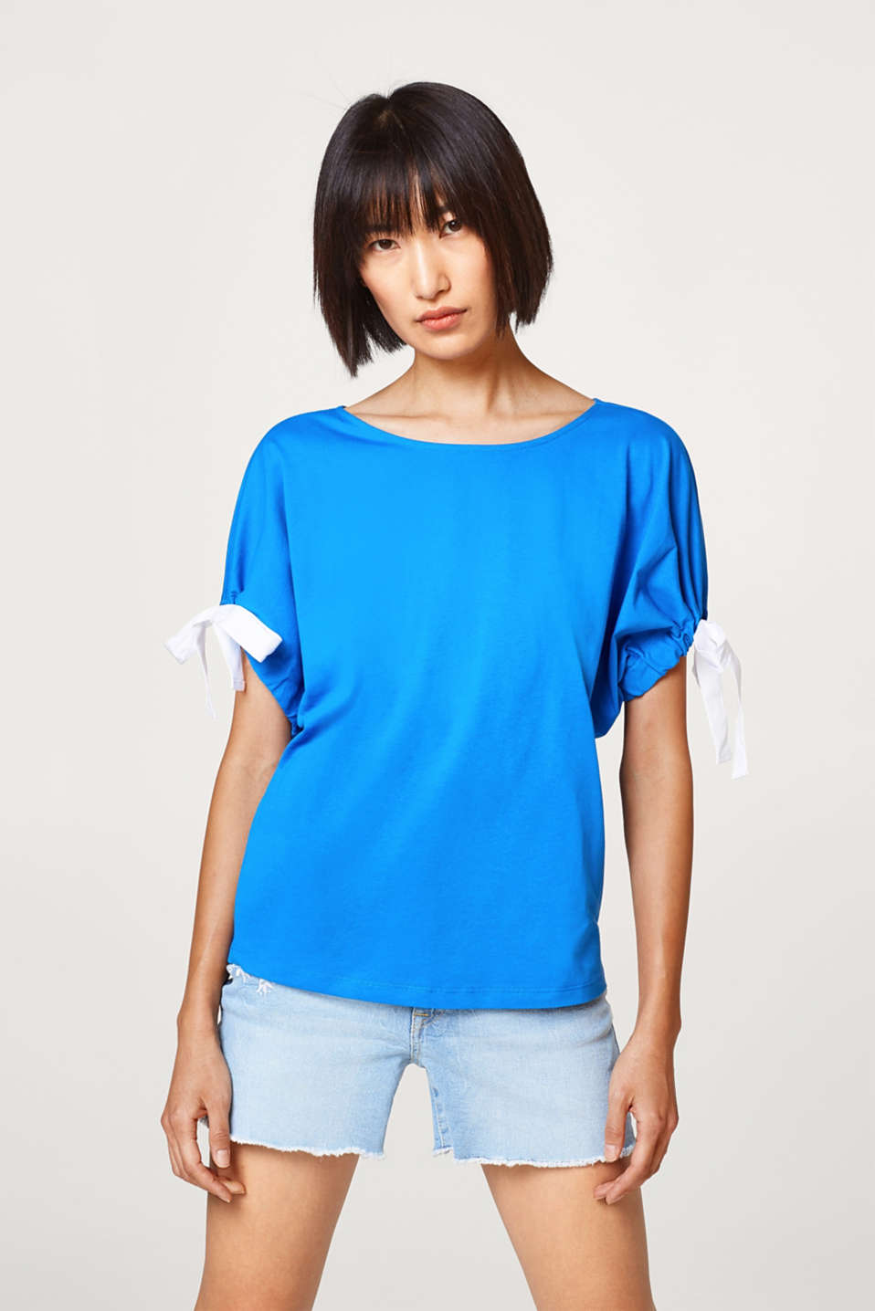 edc - T-shirt with gathered sleeves, 100% cotton
