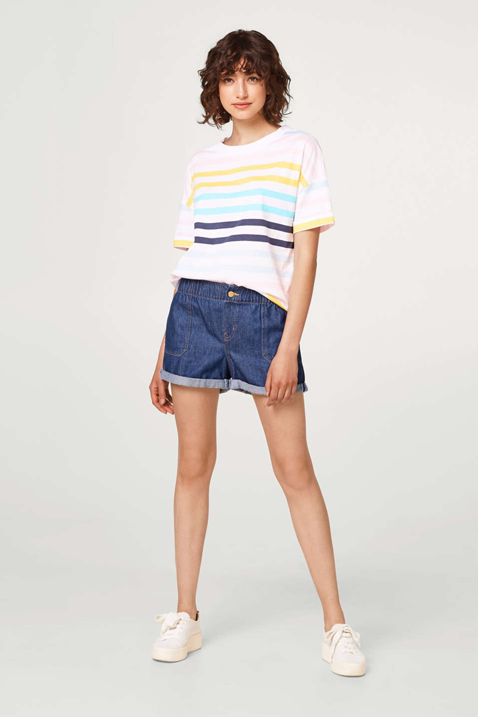 T-shirt with striped print, 100% cotton