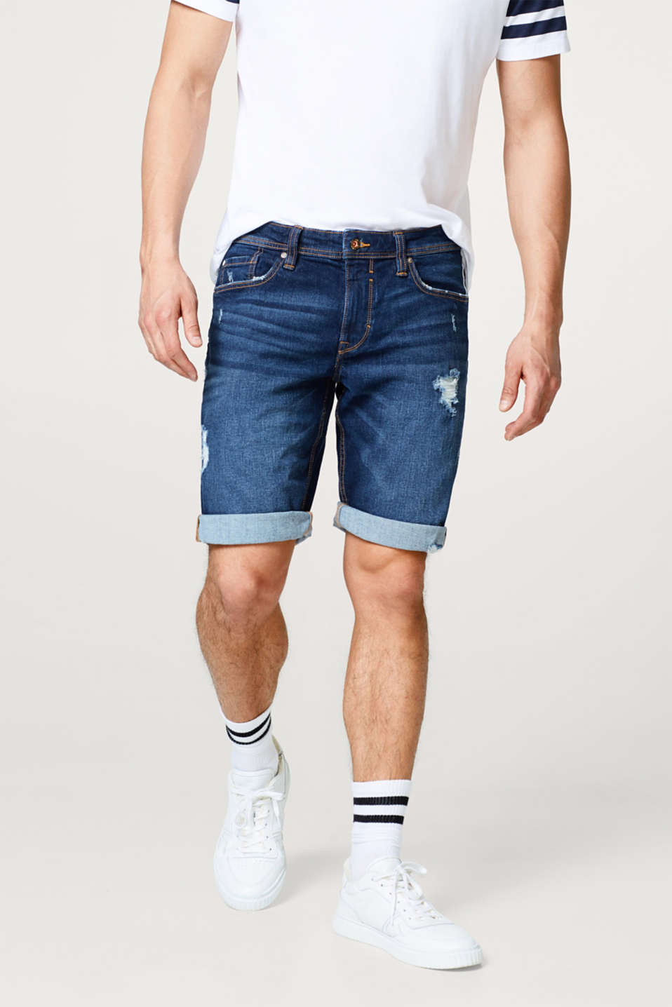 edc - Denim short met stretch en destroyed effecten