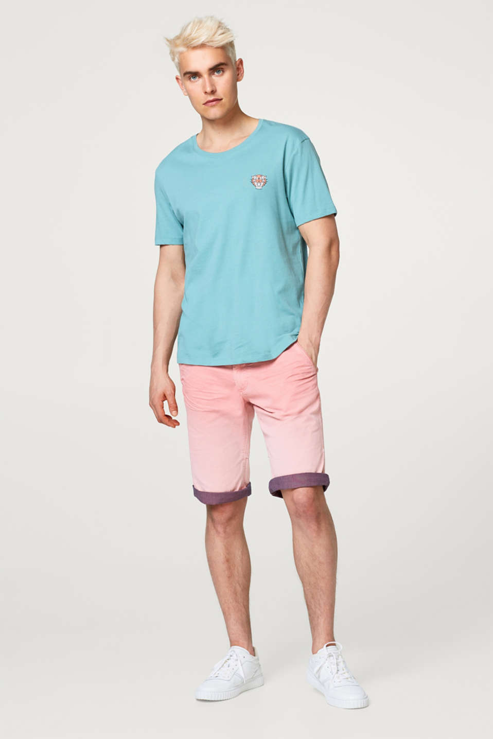 Shorts with colour gradation, in stretch cotton
