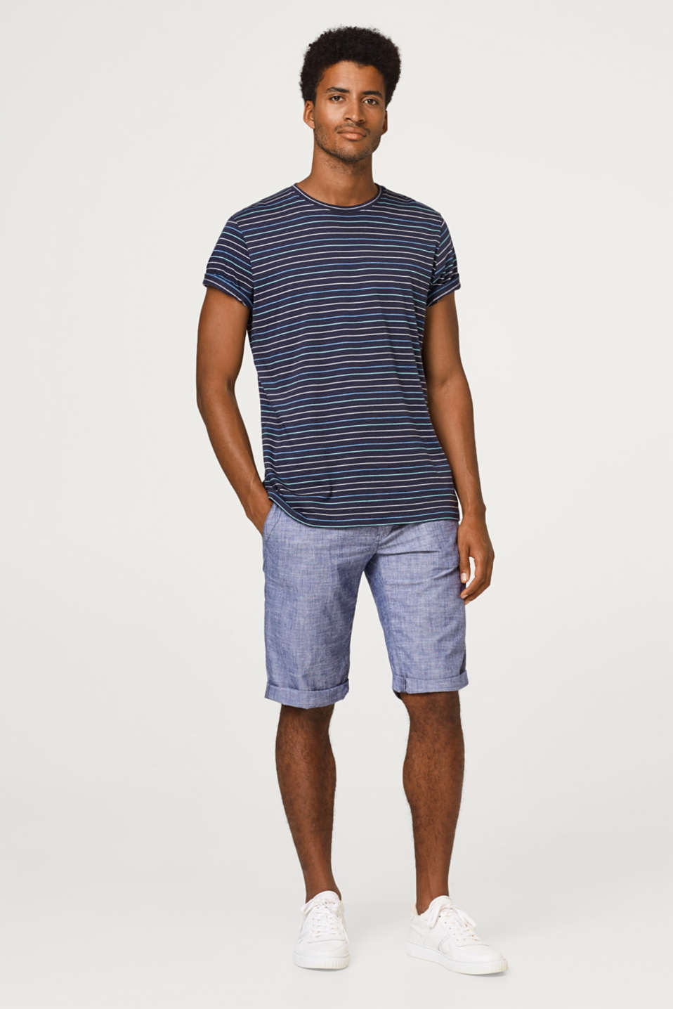 Chambray shorts in 100% cotton