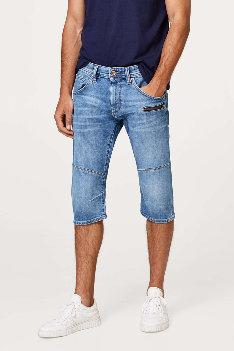 edc - Stretch denim shorts with zip detail