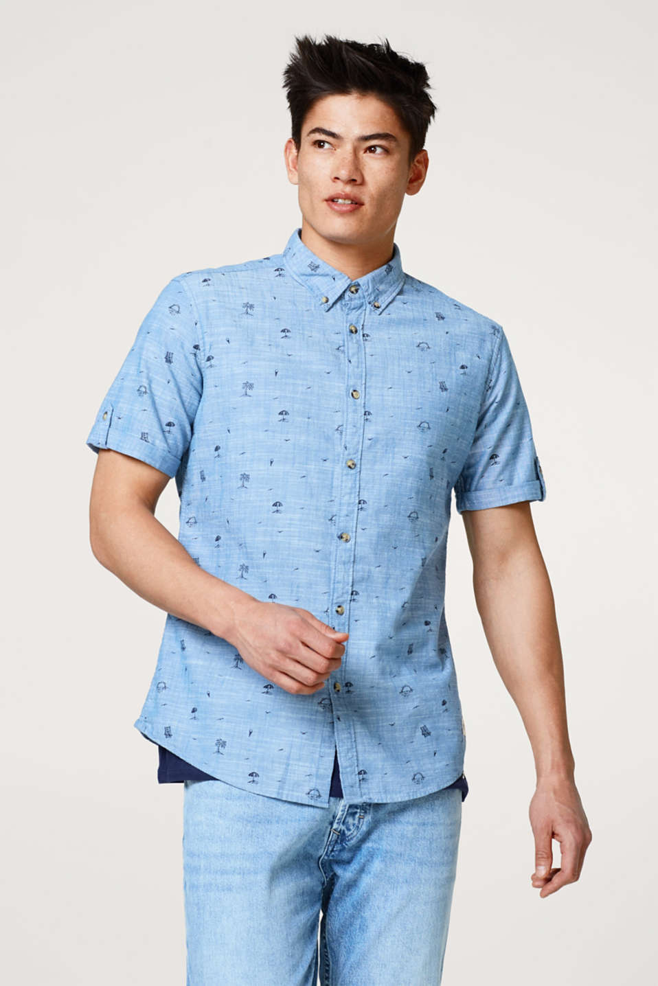 edc - Short sleeve shirt with summery print motifs