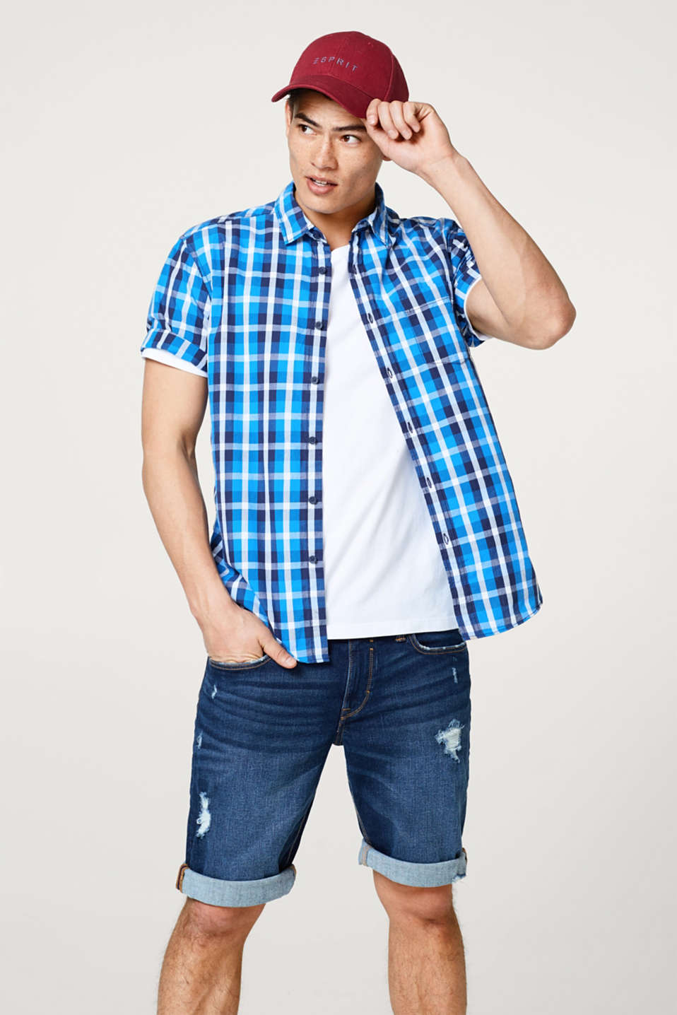 edc - Short sleeve shirt with a check pattern, in cotton