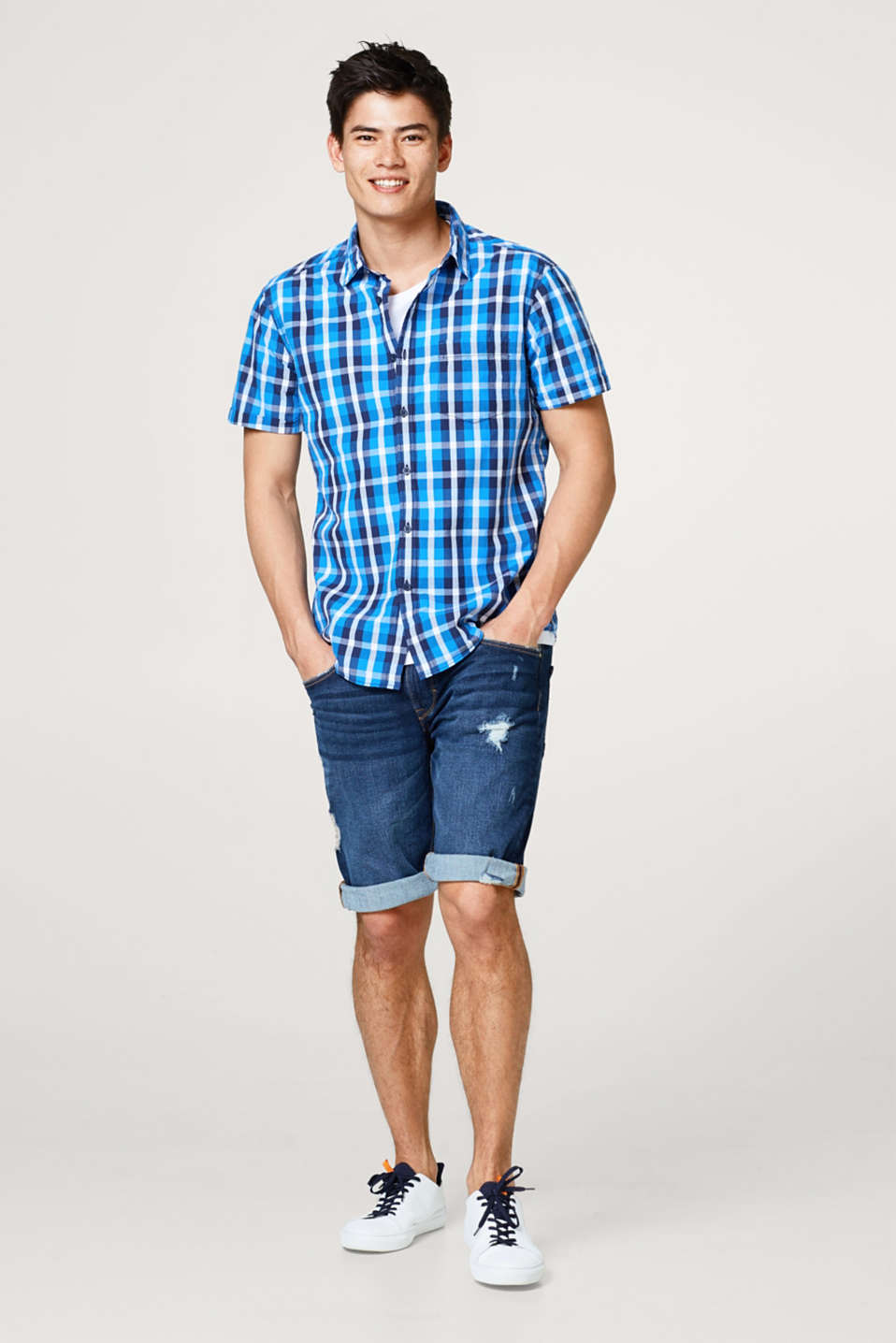Short sleeve shirt with a check pattern, in cotton