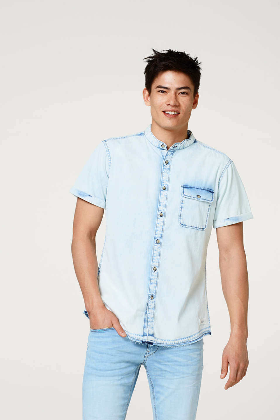 edc - Denim short sleeve shirt with a bleached effect