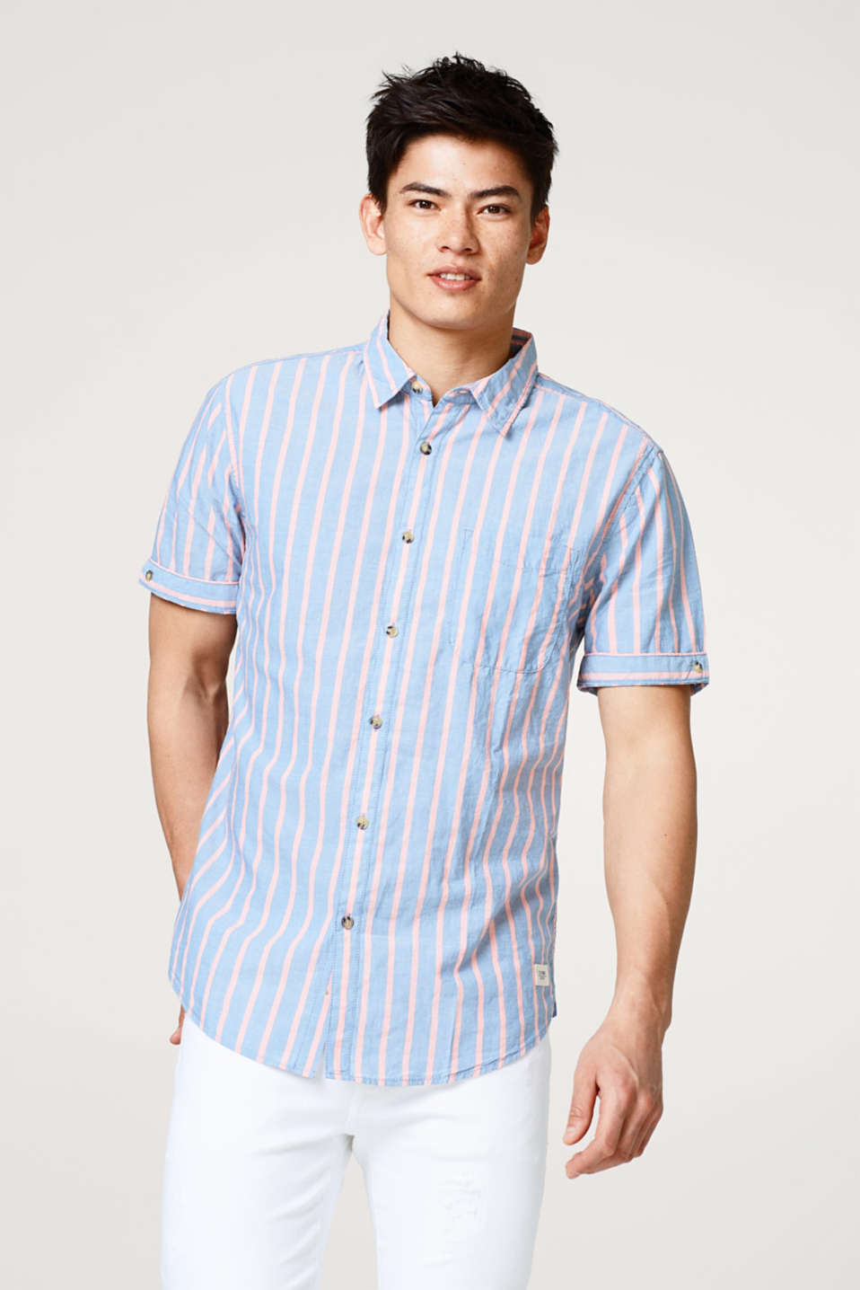 edc - Striped short sleeve shirt with organic cotton