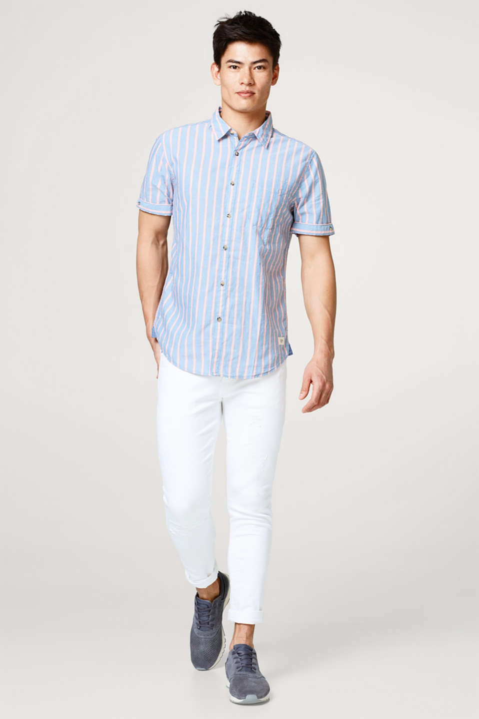 Striped short sleeve shirt with organic cotton