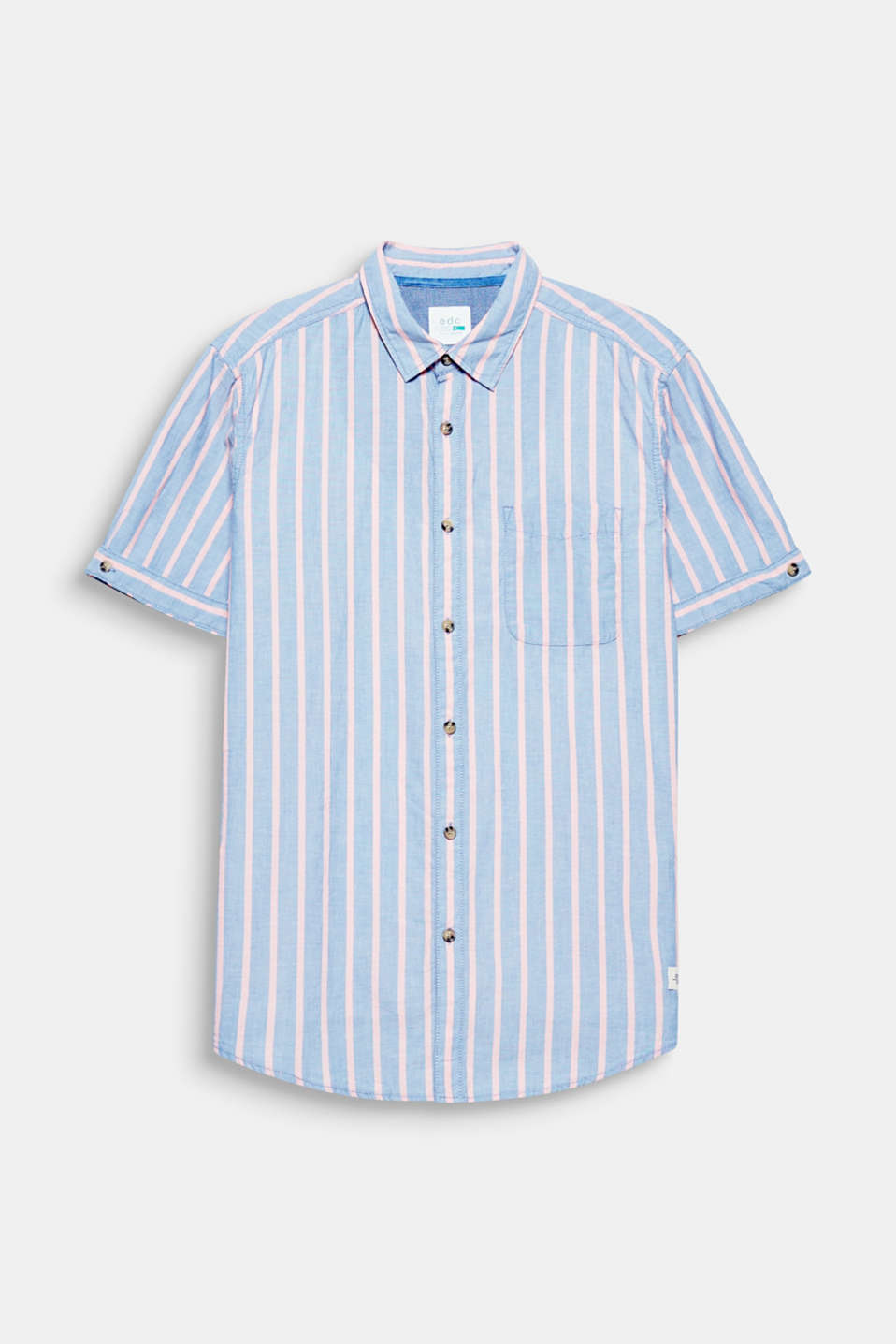 Vertical stripes in a trendy pastel tone and the light melange fabric give this short sleeve shirt with certified organic premium cotton a summery on-trend look.