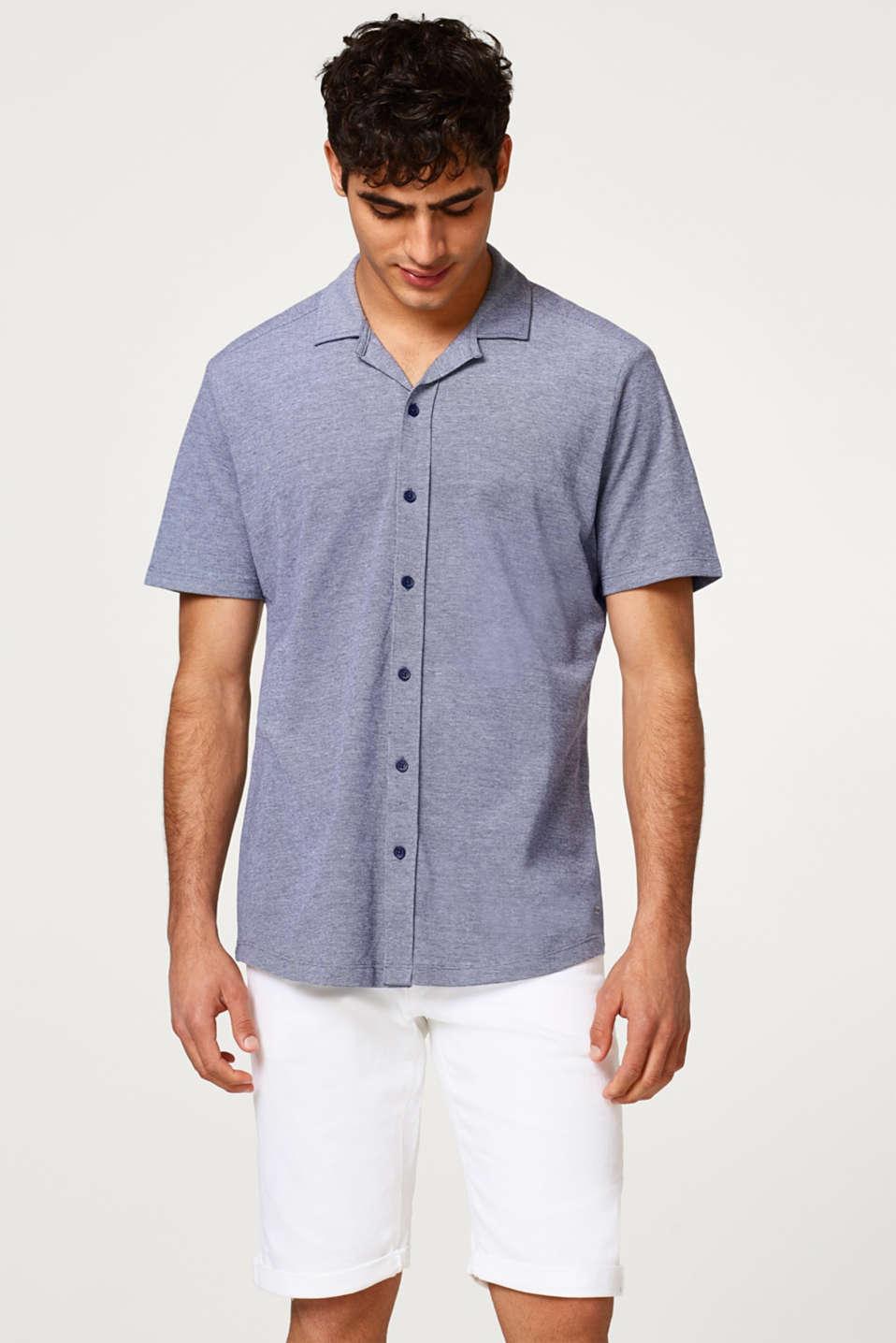 edc - Piqué-Kurzarmhemd mit Cuban Collar, aus Baumwolle im Online ...