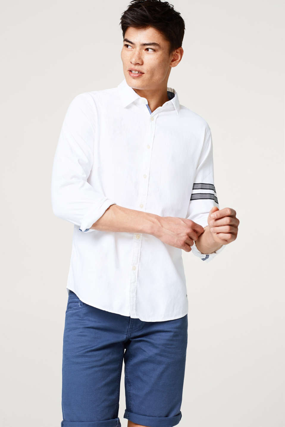 edc - Shirt with striped details, in 100% cotton