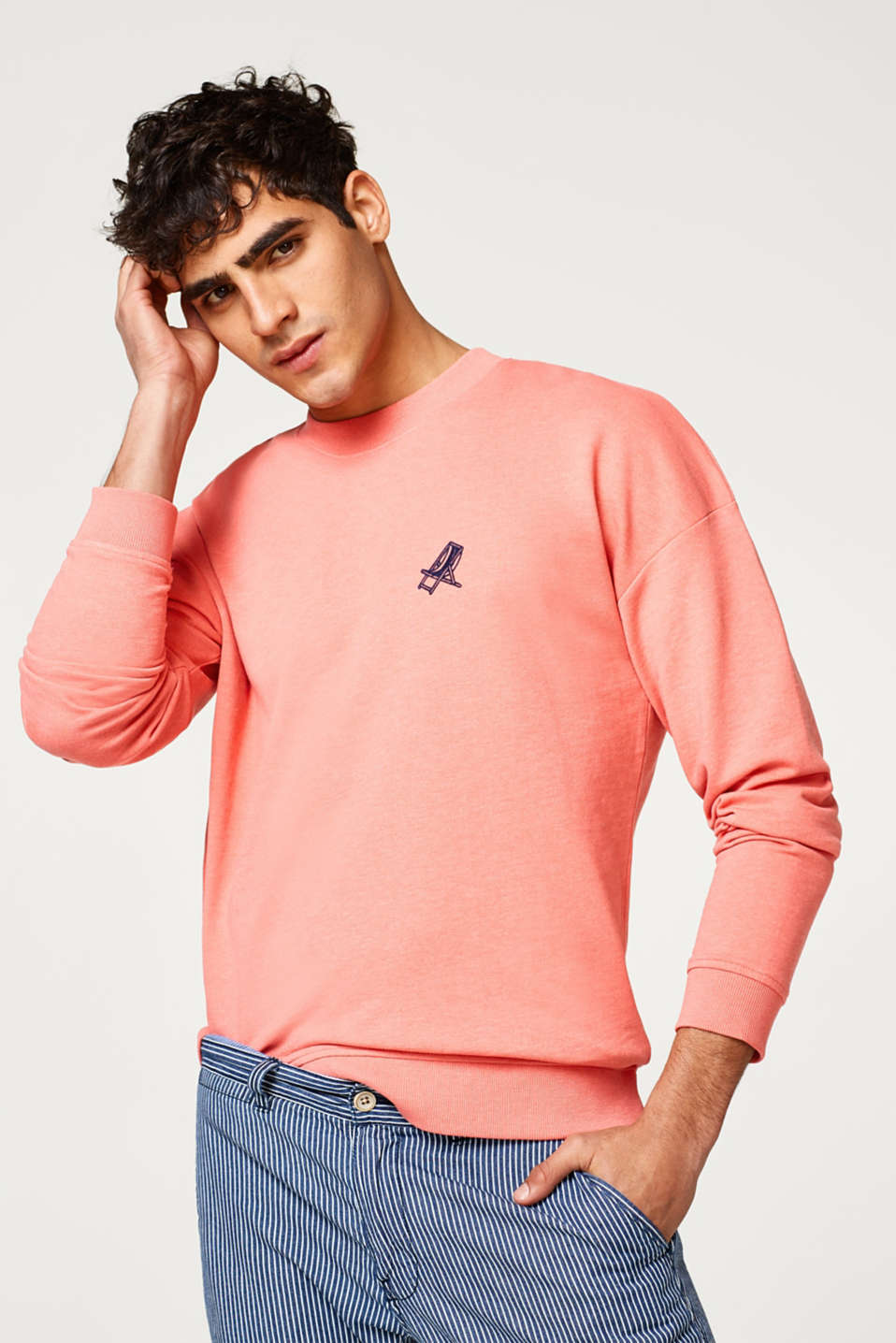 edc - Sweatshirt with a small, velvet print motif