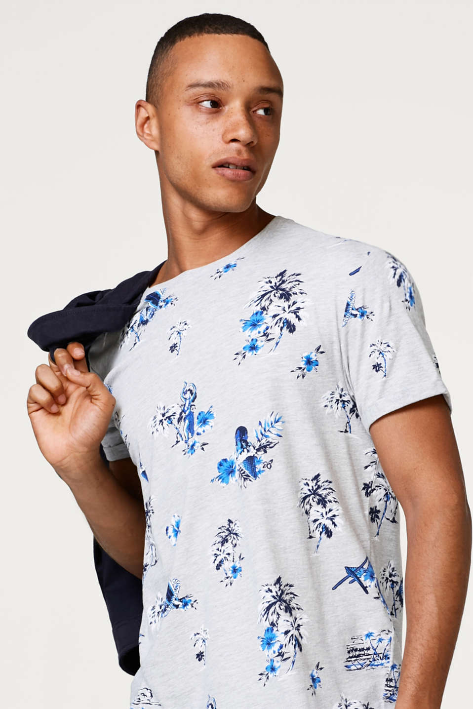 edc - Melange jersey T-shirt with tropical floral prints