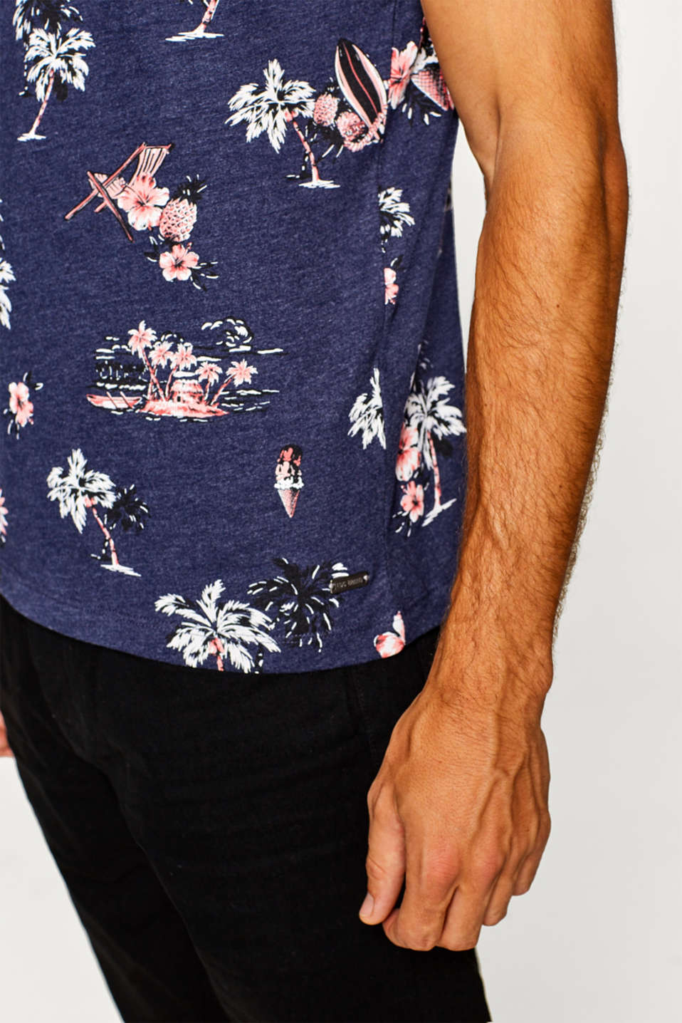Melange jersey T-shirt with tropical floral prints