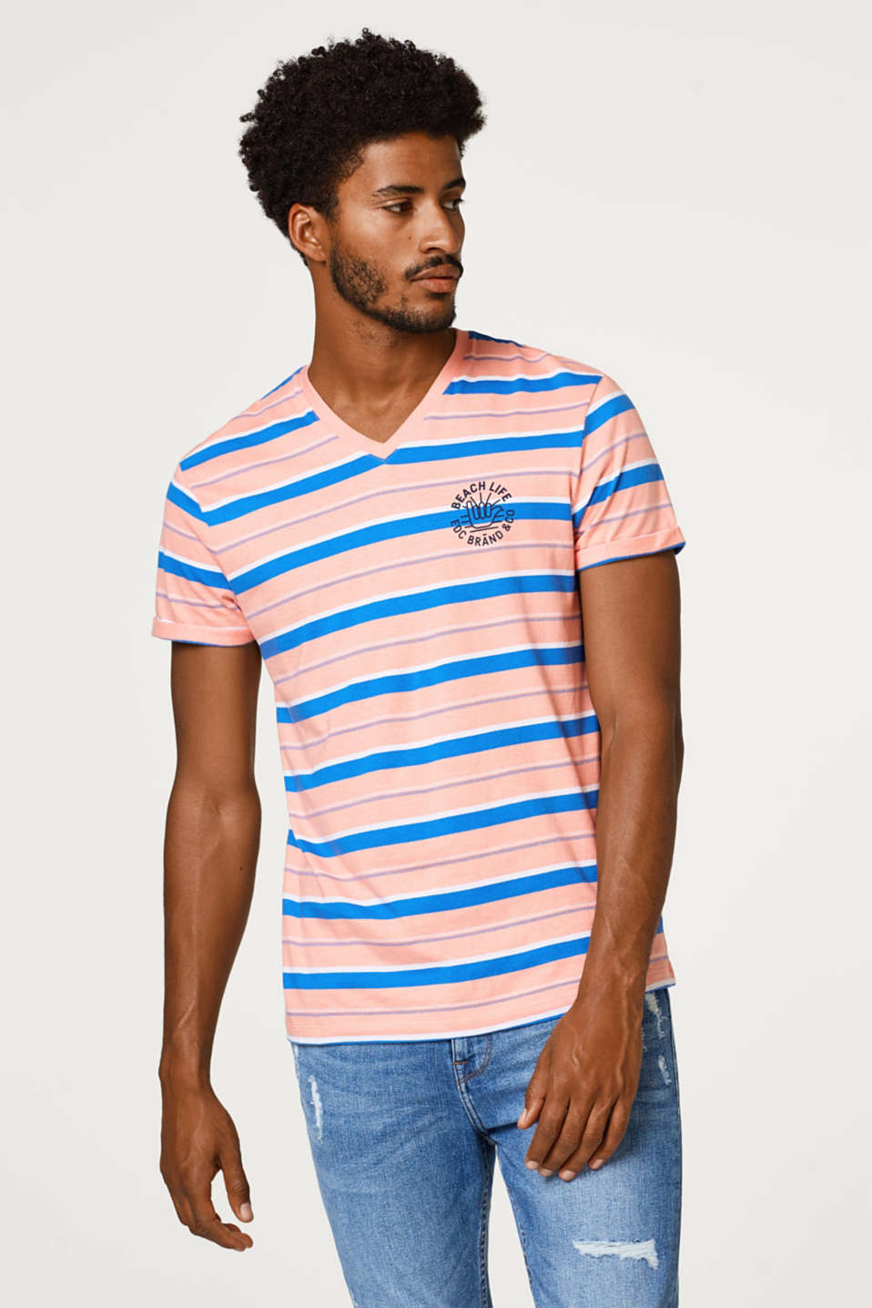 edc - Striped jersey T-shirt in cotton